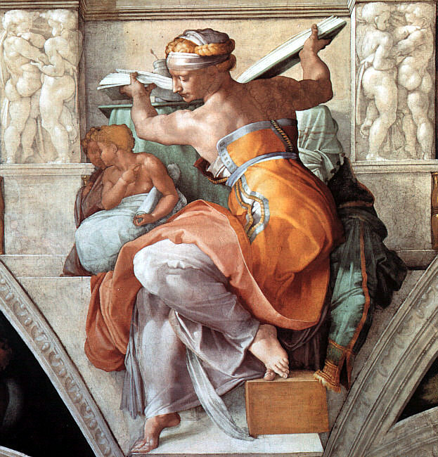 A depiction of the Libyan Sibyl, a mythological priestess, seated and turned to the side, holding a large book behind her but looking away from it, over her shoulder.