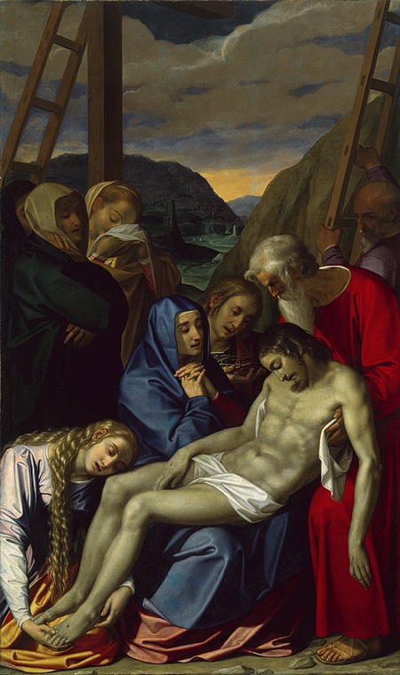 Painting depicts the body of Christ in the center being held by several figures, including the Virgin and Mary Magdalen, who are gazing upon the body with sorrow.