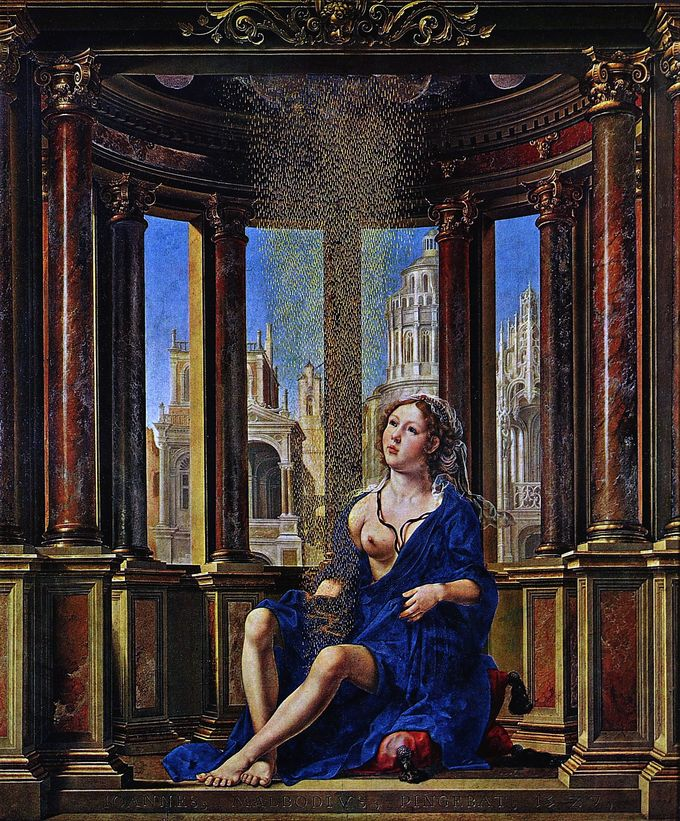 Painting depicts Danae seated, surrounded by columns, with one breast visible.