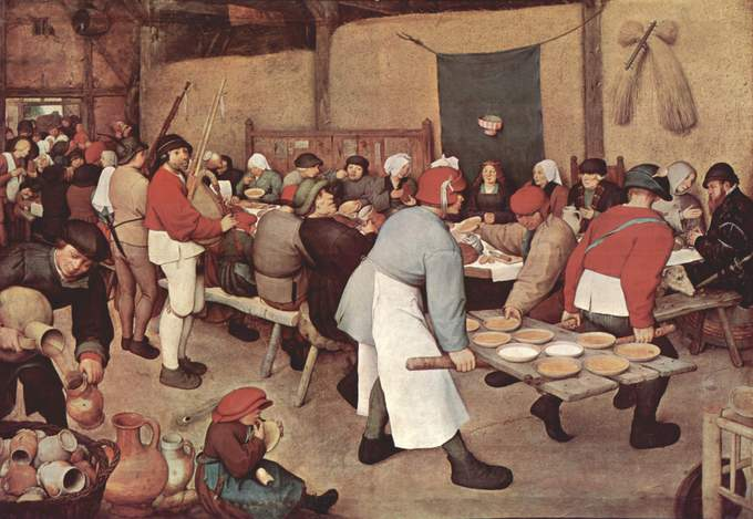 The feast is in a barn. The plates are carried on a door off its hinges by two men. Two pipers are playing the pijpzak, an unbreeched boy in the foreground is licking a plate, and the wealthy man at the far right is feeding a dog.