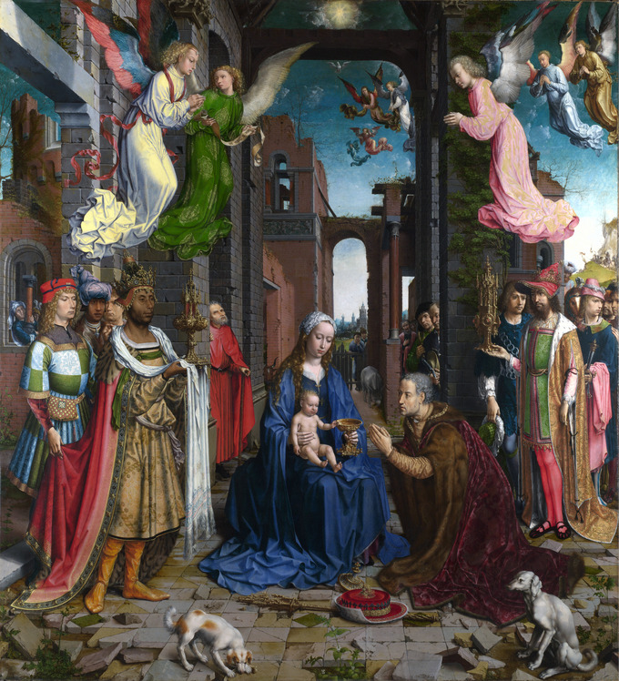 In the center of the painting, the Madonna and child sit in the ruins of a building, receiving a gift from the kneeling Caspar to the right. Many figures surround them from behind and the sides. Angels watch from above.