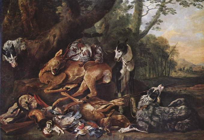 Painting depicts several dead animals beneath a tree, guarded by two dogs.
