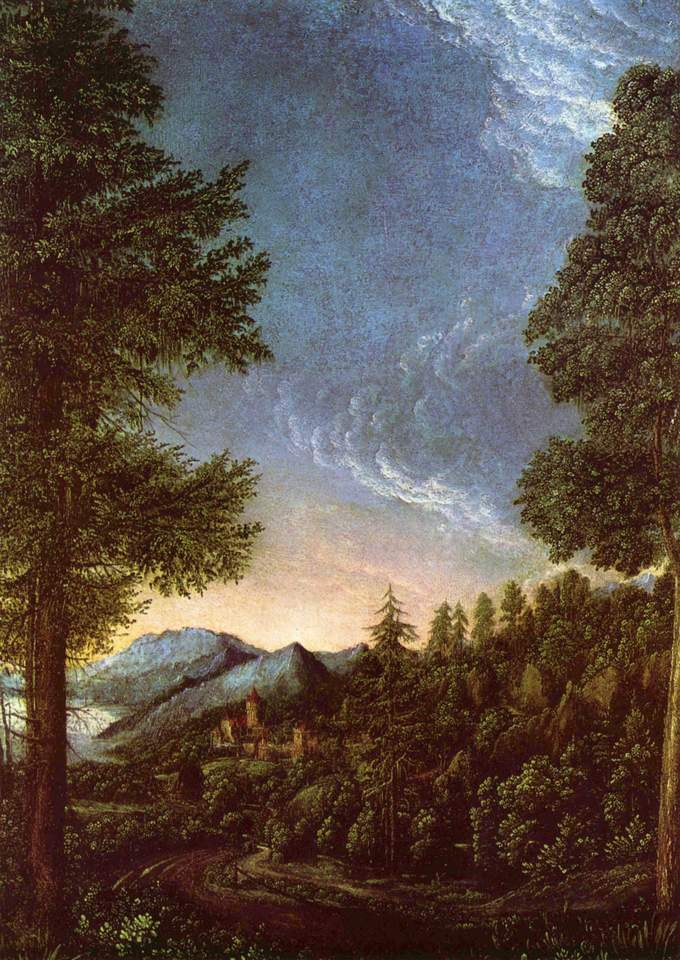 Landscape depicts a road winding through the countryside. There is a building in the background and mountains in the distance.
