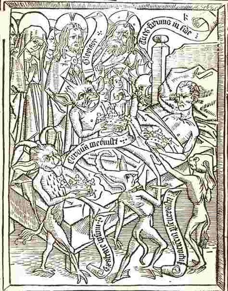 This print shows an ill man in bed surrounded by religious figures and demon-like figures.