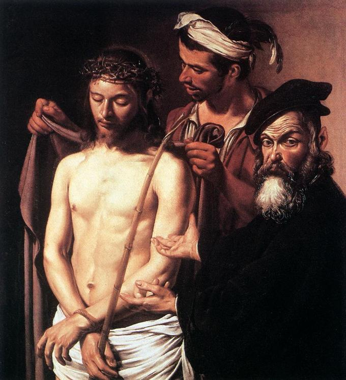 Painting shows Pontius Pilate looking out with his hands toward Christ, as though displaying him to an audience. Christ is looking down.