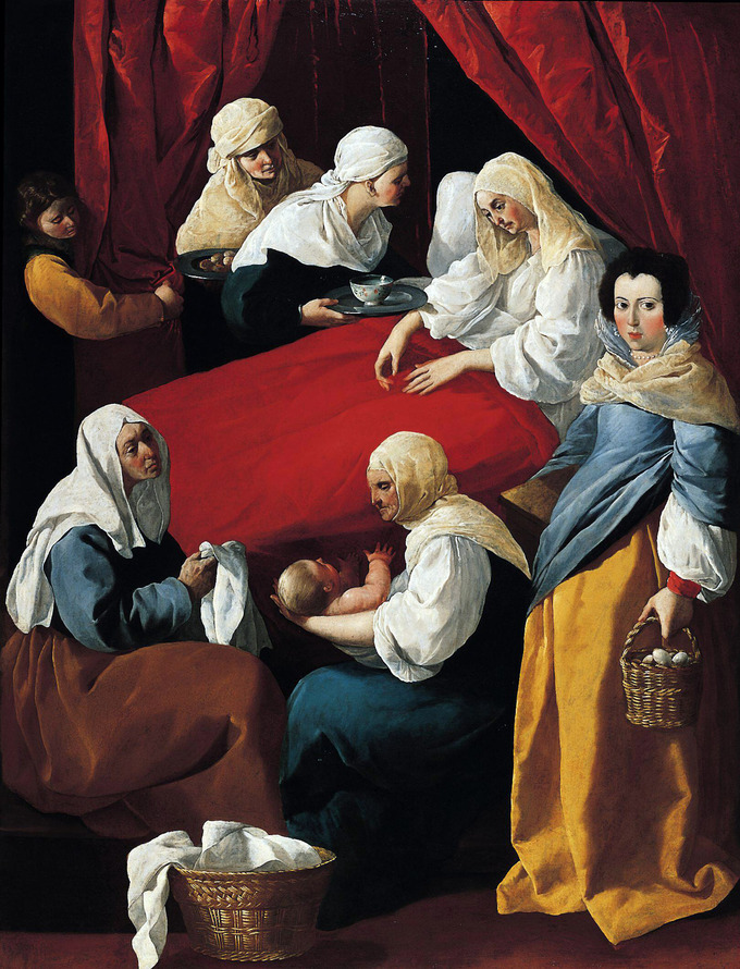 Scene depicts the Virgin Mary in bed after giving birth. Several women surround her bed, and one is holding the infant.