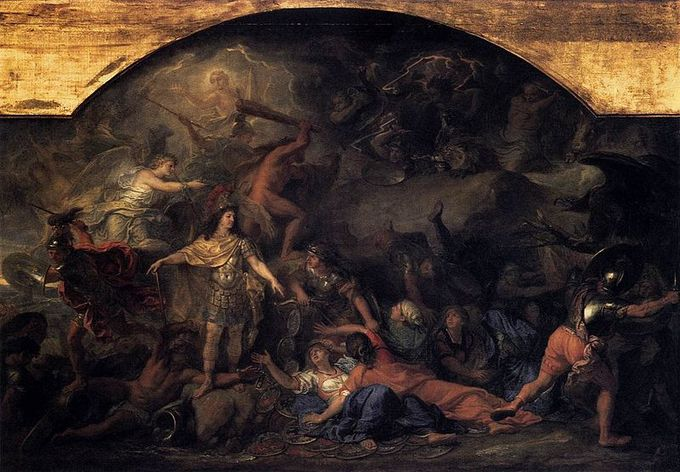 Painting depicts a dark battle scene with many figures in many different poses and actions.