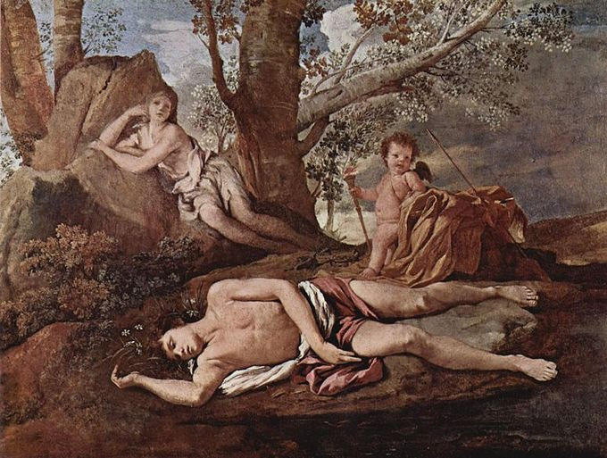 Narcissus lies dead beside the water while Echo in the background grieves over him.
