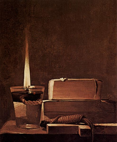 This painting shows a lit candle sitting on a table beside two books and a cross.