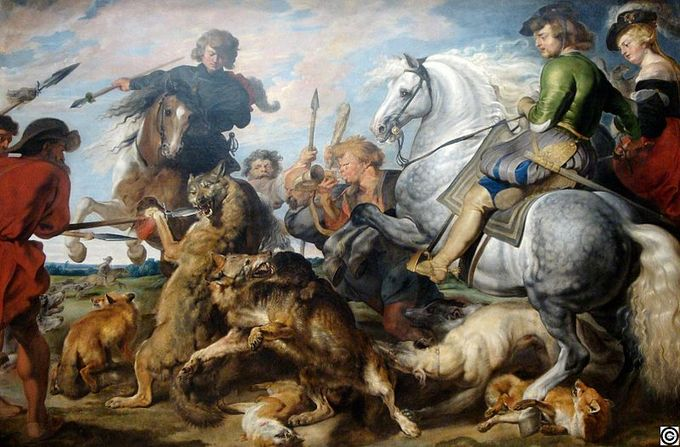This scene shows mounted and walking hunters chasing two wolves and three foxes.