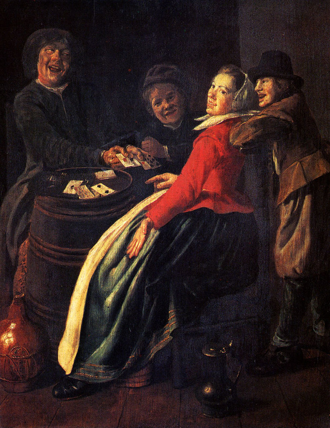 This scene depicts a group of women playing cards, laughing and smiling.