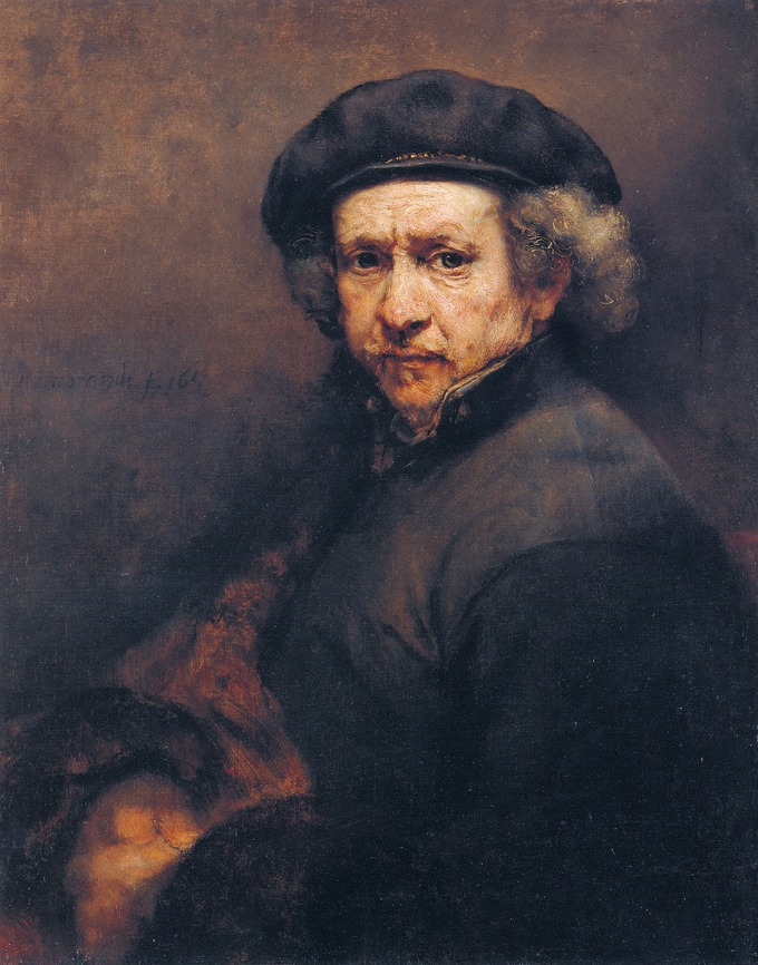 This self-portrait shows Rembrandt as an old man with wrinkles on his face and a troubled expression.
