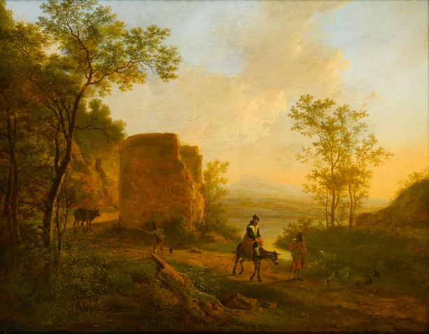 This painting depicts a scene in the countryside with gold light. A ruin is seen near the center and a two people in the foreground, one on a horse, are traveling down a road away from the ruin.