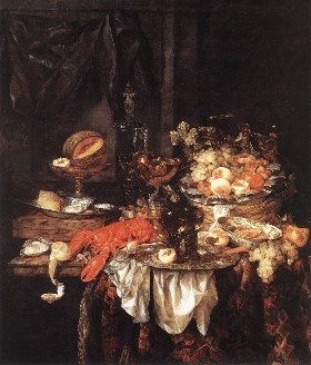 Painting shows an array of decadent food and drink piled on a table.