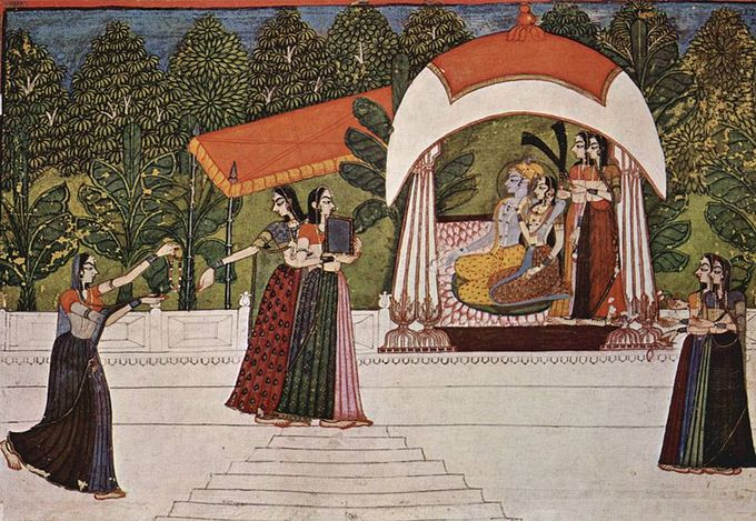 Krishna and Radha sit together in a pavilion. Several other figures are in various poses elsewhere in the piece.