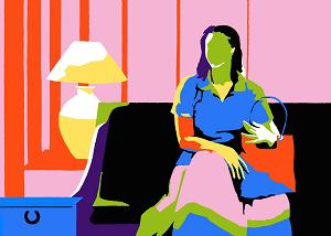 In this piece, a woman sits on a couch holding a purse. A lamp is on a table next to her. She is faceless and the entire piece is made up of bright colors.