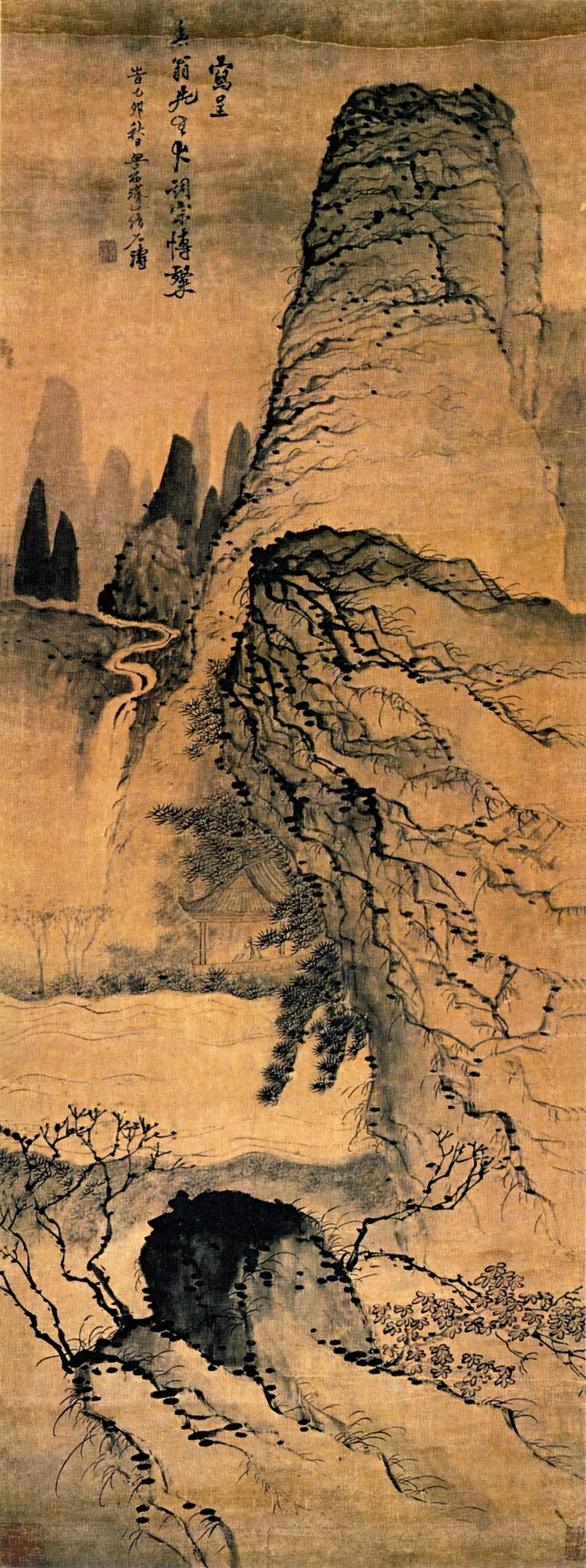 Painting depicts a tall, craggy peak overlooking a pavilion alongside a river. More peaks and a waterfall are in the background.