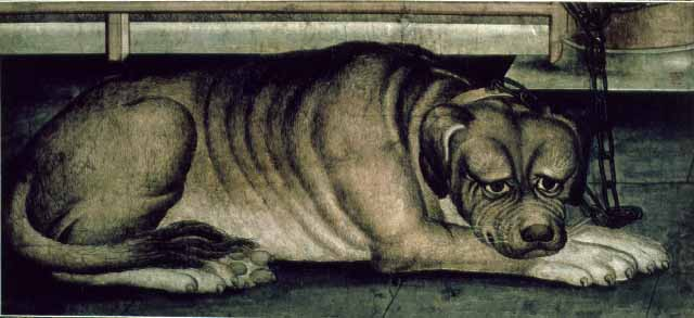 Painting depicts a large dog lying down.