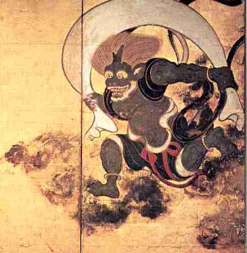 This portion depicts the wind god as a dark, animated figure against a gold background.