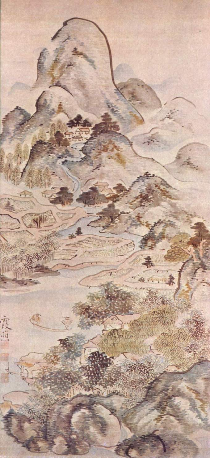 A detailed landscape depicting a river running through hills with huts scattered throughout. Two fishermen sit in a boat in the river.