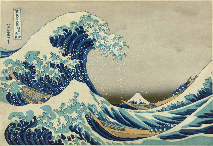 The image depicts an enormous wave threatening boats off the coast of the prefecture of Kanagawa. It depicts the area around Mount Fuji, and the mountain itself appears in the background.