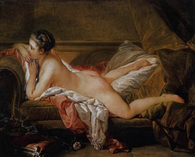 A young woman lay naked on a chaise lounge.