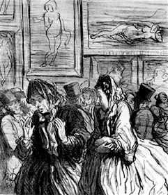 Drawing of 19th century patrons at an art museum. Two women in the foreground appear frustrated with the paintings of Venus in the background.