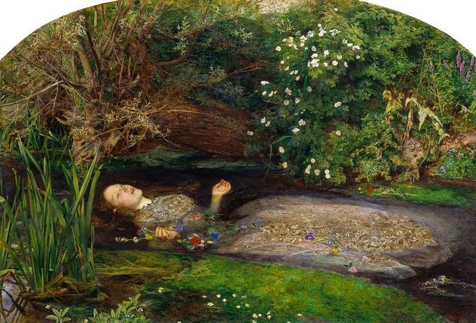 Painting depicts Ophelia from Shakespeare's Hamlet lying in the water, singing.