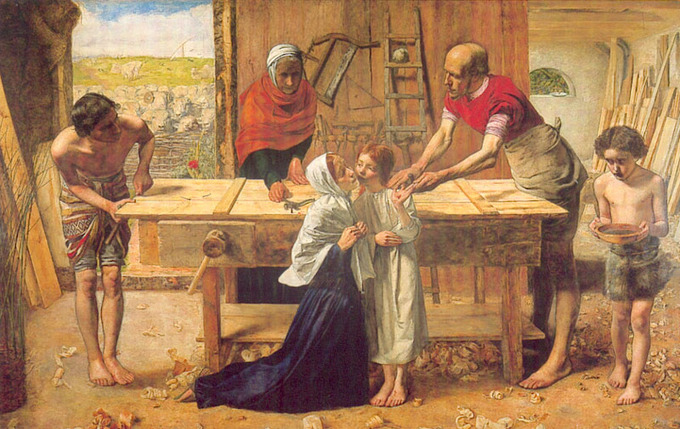 Painting depicts Joseph's workshop. On the left, Joseph is making a door. In the center, young Jesus is receiving a kiss on his cheek from Mary, while he holds out a hand that has been punctured by a nail. An older man is removing the nail and an older woman watches. On the right, a young boy walks in carrying a bowl of water.