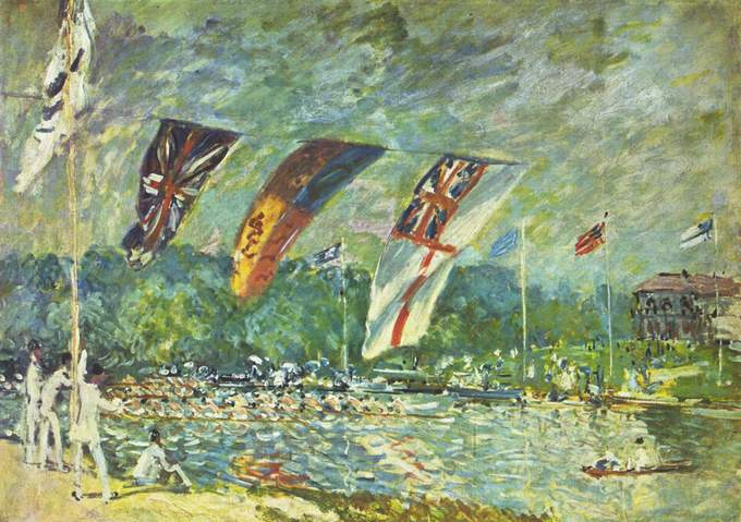 Landscape showing a regatta. Men in white are watching from the river bank, and in the center, several flags from different countries wave in the wind.