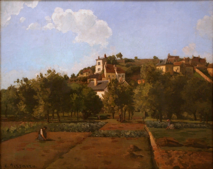 Landscape with farming fields and a farmer in the foreground and houses on a hill in the background.