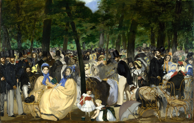 Painting depicts a large gathering of men and women in the Tuileries gardens. The group is so large, the people blend in together.