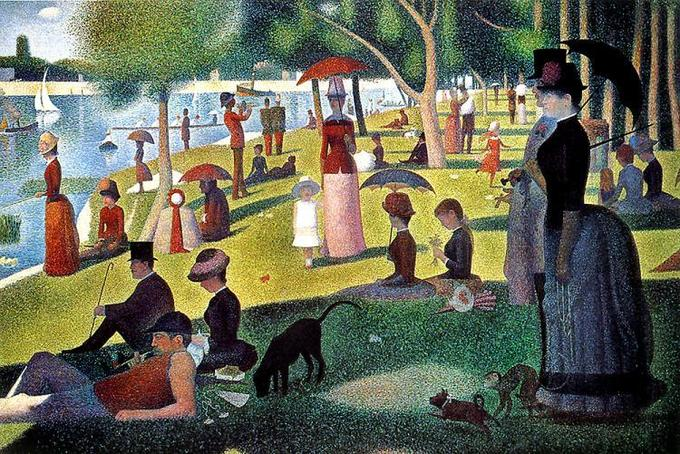 Painting depicts many different people relaxing in a park by the river.