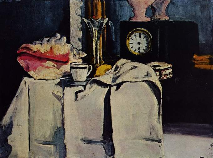 Painting is a still life depicting a table covered in a thick cloth with a tea cup and large shell on it. A black clock is in the background.