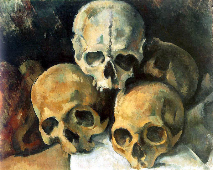 Painting depicts four human skulls piled together.