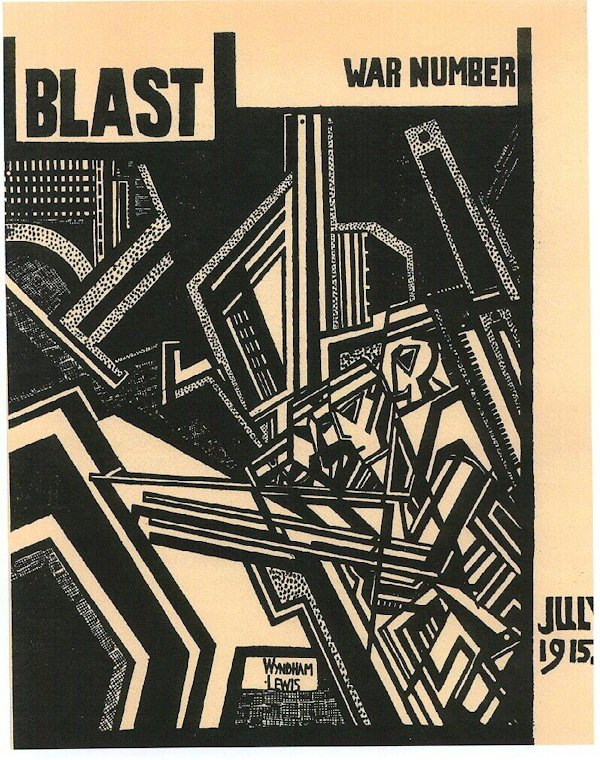 Top of cover says BLAST on the left and WAR NUMBER on the right. The drawing depicts soldiers drawn using sharp angles and geometric lines. Near the bottom is the date JULY 1915.