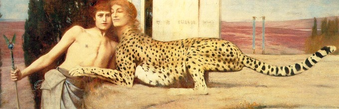 A young, shirtless man is being caressed by a cheetah in a sphinx-like pose with a woman's head.