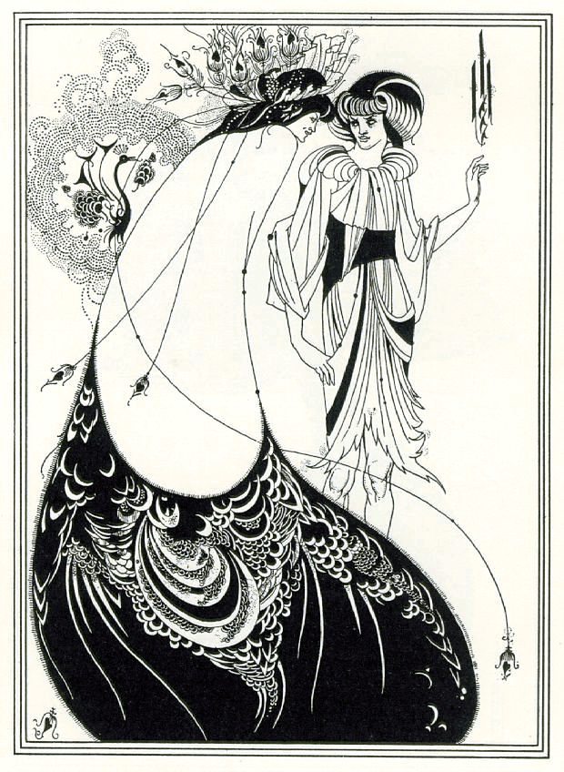 Black and white poster depicting two women wearing flowing, intricate dresses. The woman in the foreground is wearing a giant skirt that resembles a peacock feather.