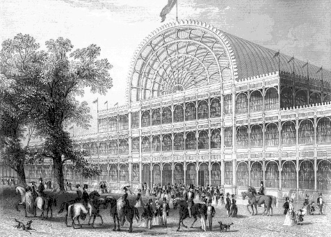 Drawing of the Crystal Palace with people on horses outside.