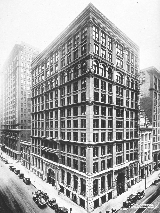 Superieur Black And White Photo Of The Home Insurance Building. Shows Features Of The Chicago  School