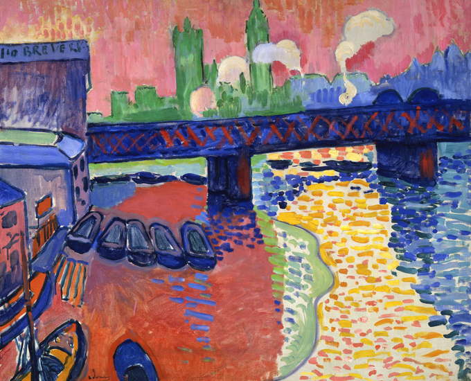 Painting of the Charing Cross Bridge with city buildings in the background and boats in the foreground. Many bright colors are used.