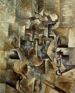 A monochromatic painting depicting various objects, including a violin and a candlestick, broken up and reconstructed in a way that makes it difficult to tell what the objects are.