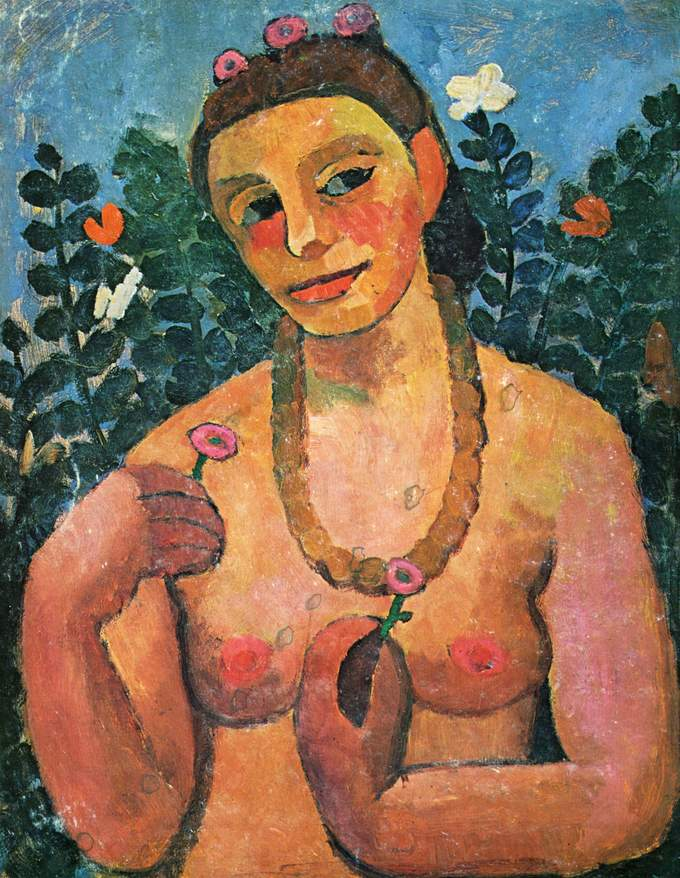 A nude self-portrait that shows the artist from the waist up, holding flowers and wearing a necklace.