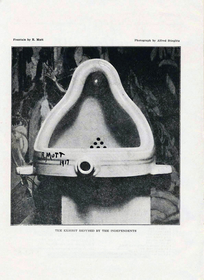 "A black and white photo of the piece, a porcelain urinal signed ""R.Mutt 1917"""