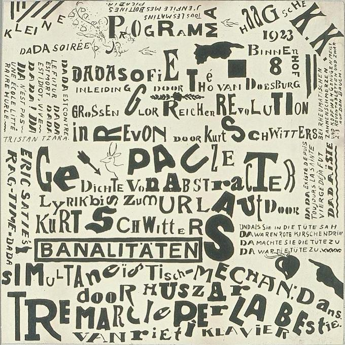 A black and white collage made up of words and letters.