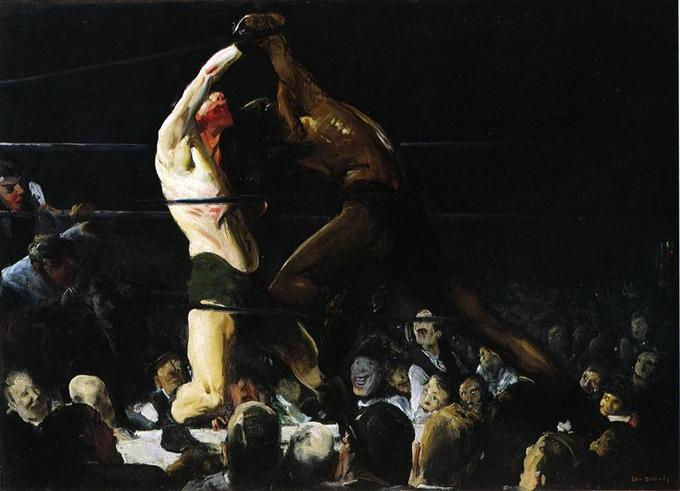 This painting depicts a bloody boxing match.