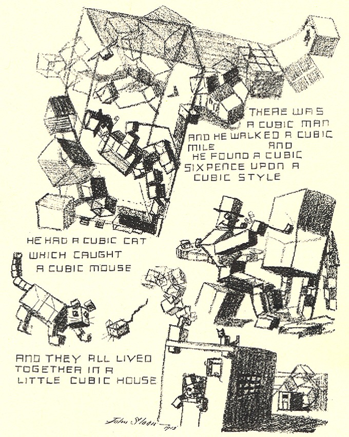 Drawing of many cubes, including a man and a cat made out of cubes, with a satirical rhyming poem about cubic style.