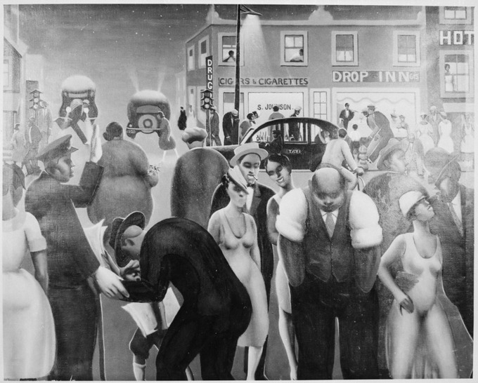 Painting depicts African Americans out at night in a busy city.