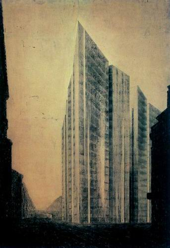 A drawing of the steel and glass skyscraper.