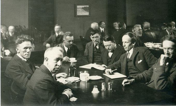 This photo shows six of the Group of Seven, plus their friend Barker Fairley, in 1920. From left to right: Frederick Varley, A. Y. Jackson, Lawren Harris, Fairley, Frank Johnston, Arthur Lismer, and J. E. H. MacDonald. The Group of Seven aimed to develop the first distinctly Canadian style of painting.